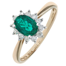 Load image into Gallery viewer, Round Brilliant 0.25ct Emerald and Diamond 9ct Yellow Gold Oval Cluster Ring