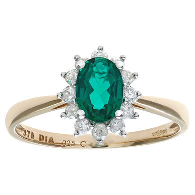 Round Brilliant 0.25ct Emerald and Diamond 9ct Yellow Gold Oval Cluster Ring