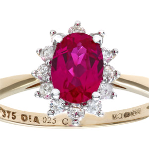 Round Brilliant 0.25ct Ruby and Diamond 9ct Yellow Gold Oval Cluster Ring