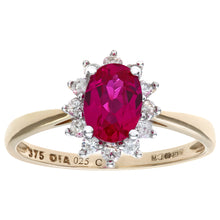 Load image into Gallery viewer, Round Brilliant 0.25ct Ruby and Diamond 9ct Yellow Gold Oval Cluster Ring