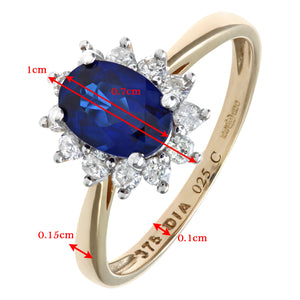Round Brilliant 0.25ct Sapphire and Diamond 9ct Yellow Gold Oval Cluster Ring