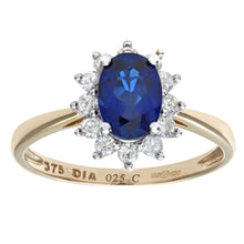 Load image into Gallery viewer, Round Brilliant 0.25ct Sapphire and Diamond 9ct Yellow Gold Oval Cluster Ring