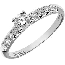 Load image into Gallery viewer, 18ct White Gold 1/2ct Certified Diamonds Shoulder Set Engagement Ring