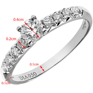 18ct White Gold 1/2ct Certified Diamonds Shoulder Set Engagement Ring