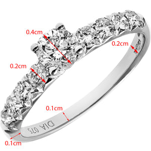18ct White Gold 3/4ct Certified Diamonds Shoulder Set Engagement Ring