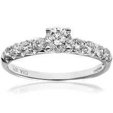 Load image into Gallery viewer, 18ct White Gold 3/4ct Certified Diamonds Shoulder Set Engagement Ring