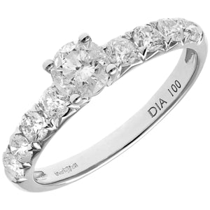 18ct White Gold 1ct Certified Diamonds Shoulder Set Engagement Ring
