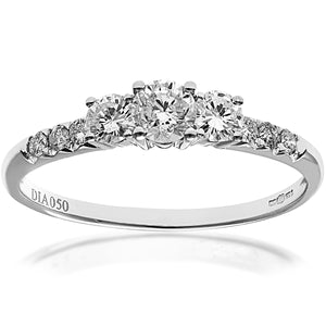 18ct White Gold 1/2ct Certified Diamonds Trilogy Engagement Ring