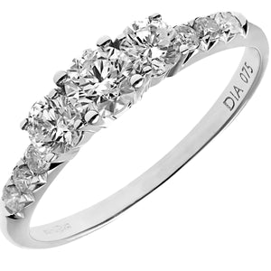 18ct White Gold 3/4ct Certified Diamonds Trilogy Engagement Ring