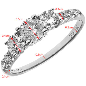 18ct White Gold 1ct Certified Diamonds Trilogy Engagement Ring