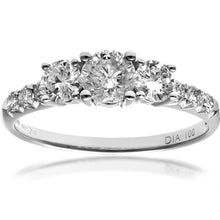 Load image into Gallery viewer, 18ct White Gold 1ct Certified Diamonds Trilogy Engagement Ring