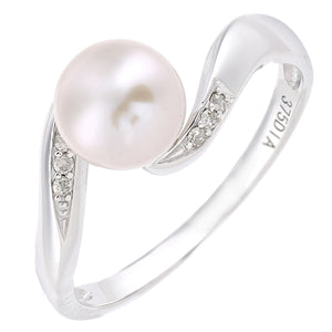 9ct White Gold, 0.04ct Diamonds with White Cultured pearl Ring