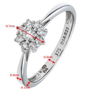 Round Brilliant 0.25ct I/I1 Certified Diamonds 9ct White Gold Cluster Ring