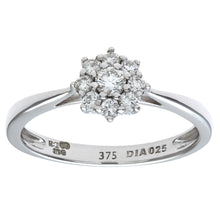 Load image into Gallery viewer, Round Brilliant 0.25ct I/I1 Certified Diamonds 9ct White Gold Cluster Ring