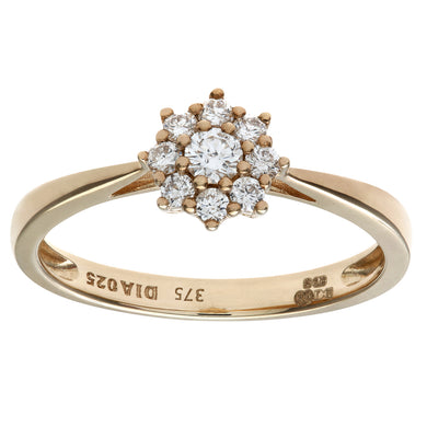 Round Brilliant 0.25ct I/I1 Certified Diamonds 9ct Yellow Gold Cluster Ring