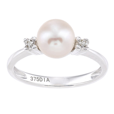 9ct White Gold, 0.01ct Diamonds with White Cultured pearl Ring