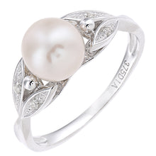 Load image into Gallery viewer, 9ct White Gold, 0.03ct Diamonds with White Cultured pearl Ring