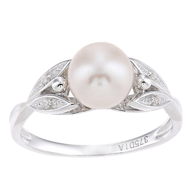 9ct White Gold, 0.03ct Diamonds with White Cultured pearl Ring