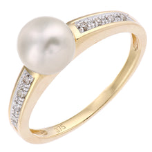 Load image into Gallery viewer, 9ct Yellow Gold, 0.04ct Diamonds with White Cultured pearl Ring