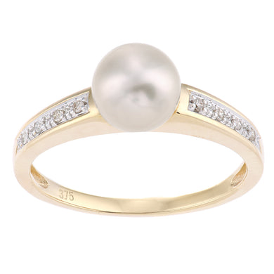 9ct Yellow Gold, 0.04ct Diamonds with White Cultured pearl Ring