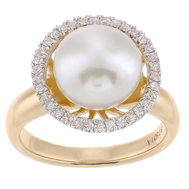 9ct Yellow Gold, 0.22ct Diamonds with White Cultured pearl Ring