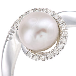 9ct White Gold, 0.08ct Diamonds with White Cultured pearl Ring