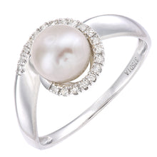 Load image into Gallery viewer, 9ct White Gold, 0.08ct Diamonds with White Cultured pearl Ring
