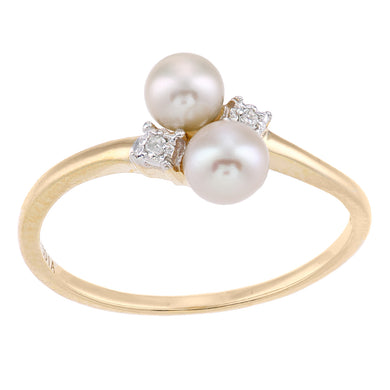 9ct Yellow Gold, 0.01ct Diamonds with White Cultured pearl Ring