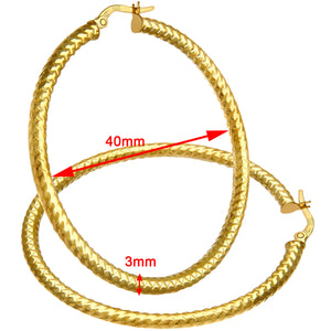 9ct Yellow Gold Diamond Cut 40mm Hoop Earrings