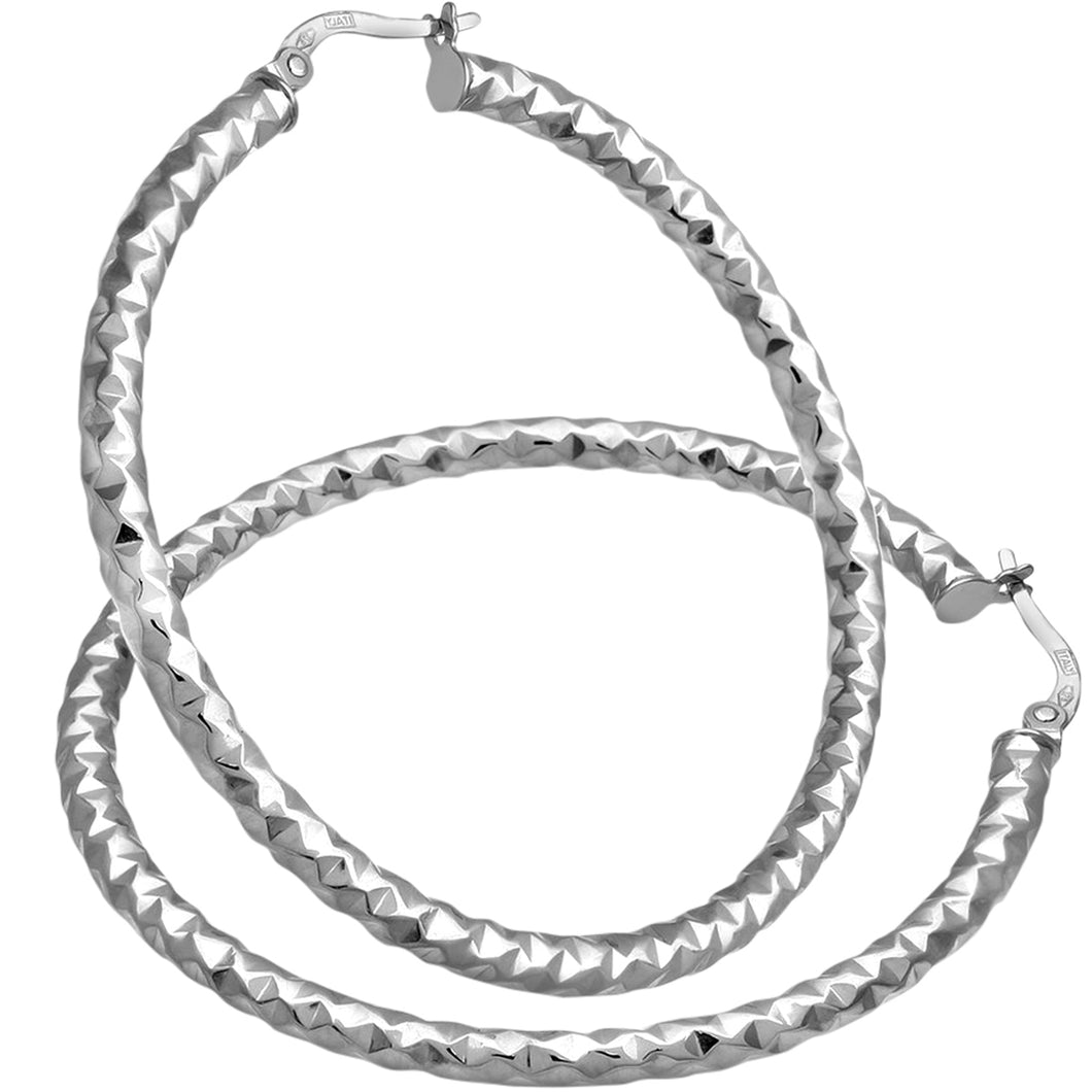 9ct White Gold Diamond Cut 40mm Hoop Earrings