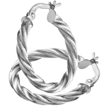 Load image into Gallery viewer, 9ct White Gold Diamond Cut 15mm Twisted Hoop Earrings 0.2cm Tube