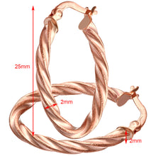 Load image into Gallery viewer, 9ct Rose Gold Diamond Cut Twisted Oval Hoop Earrings 0.2cm Tube
