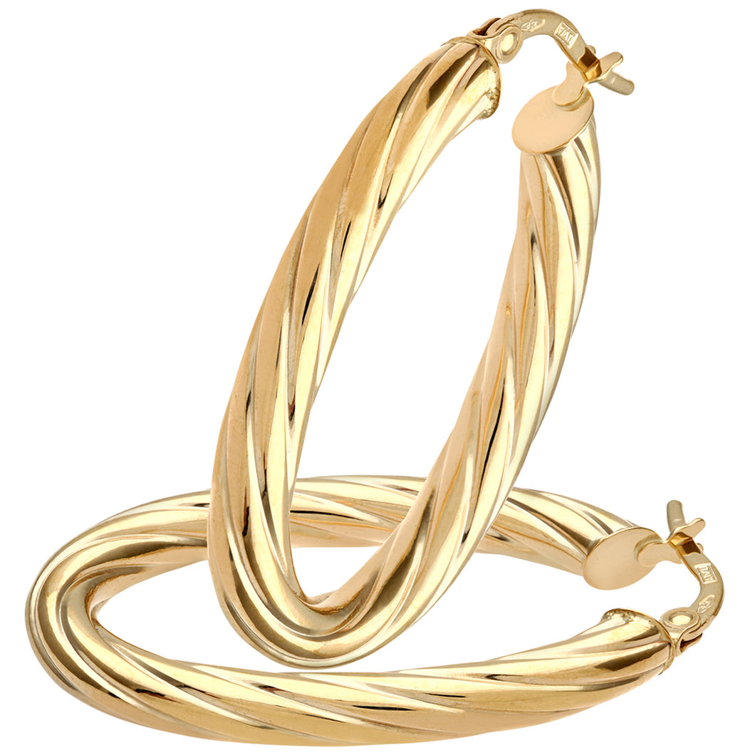 9ct Yellow Gold Oval Twisted Hoop Earrings on 0.4cm Tube