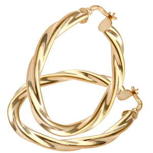 9ct Yellow Gold Chiseled Twist, 30mm Hoop Earrings on 0.4cm Tube