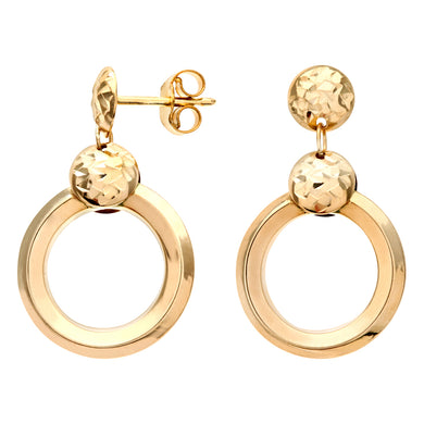 9ct Yellow Gold Triple Diamond Cut, Chiseled Round Drop Earrings