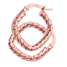 Load image into Gallery viewer, 9ct Rose Gold Twist Square Hoop Earrings