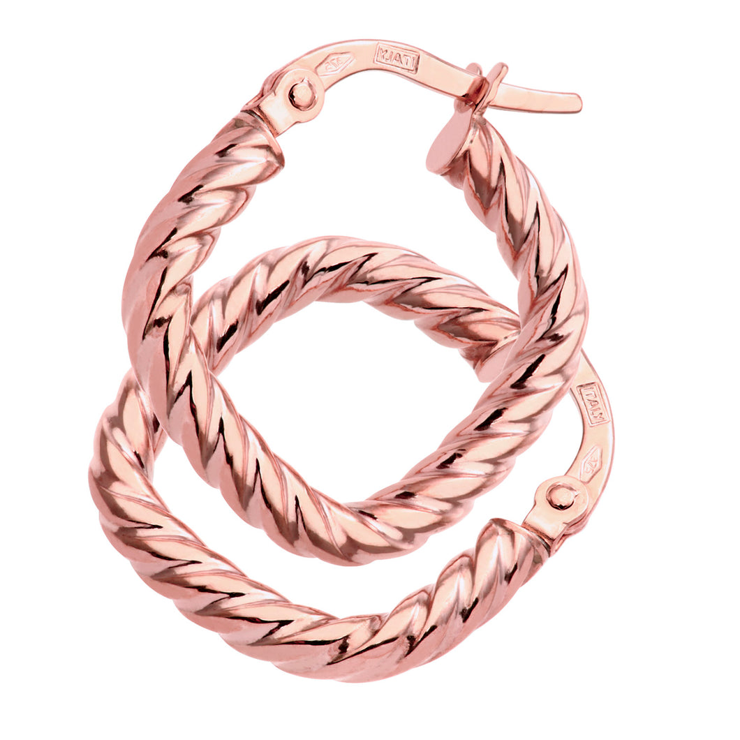 9ct Rose Gold Twist Square Hoop Earrings
