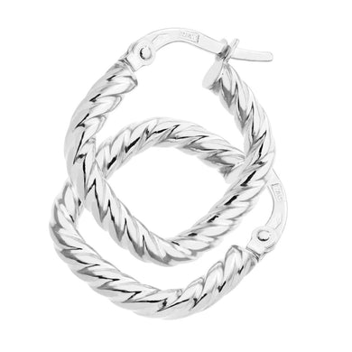 9ct White Gold Twist Square Hoop Earrings