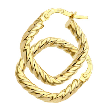 9ct Yellow Gold Twist Square Hoop Earrings