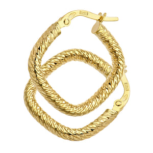 9ct Yellow Gold Diamond Cut Square Hoop Earrings