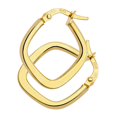 9ct Yellow Gold Shiny Square Flat Hoop Earrings
