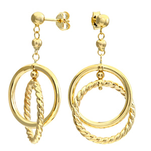 9ct Yellow Shiny and Diamond Cut Loops Drop Earrings