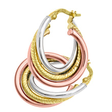 Load image into Gallery viewer, 9ct Rose, White and Diamond Cut Yellow Gold Twist Hoop Earrings