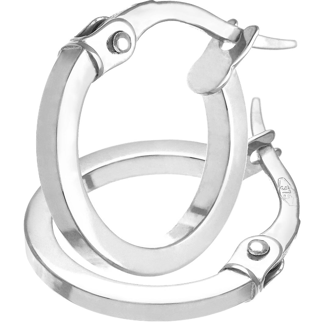 9ct White Gold Petite Square Tubed Hoop Earrings of 10mm Diameter