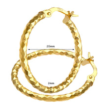 Load image into Gallery viewer, 9ct Yellow Gold Diamond Cut Hoop Earrings of 20mm Diameter