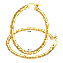 Load image into Gallery viewer, 9ct Yellow Gold Large Diamond Cut Hoop Earrings of 25mm Diameter