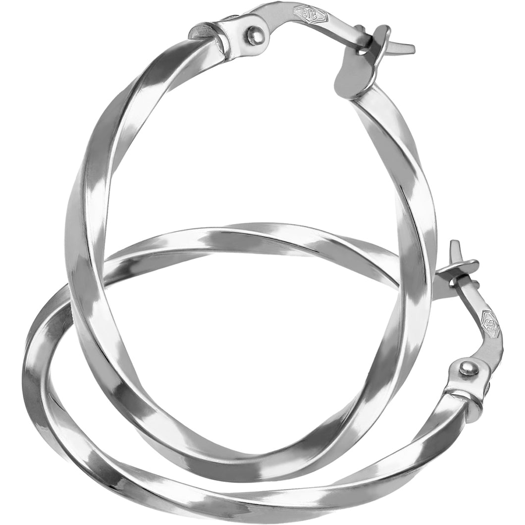 9ct White Gold Twisted Hoop Earrings of 20mm Diameter