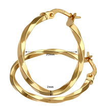 Load image into Gallery viewer, 9ct Yellow Gold Twisted Hoop Earrings of 20mm Diameter