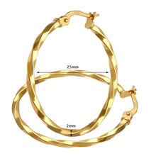 Load image into Gallery viewer, 9ct Yellow Gold Twisted Hoop Earrings of 25mm Diameter