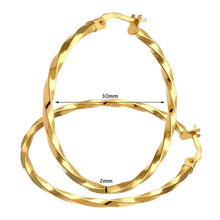 Load image into Gallery viewer, 9ct Yellow Gold Twisted Large Hoop Earrings of 30mm Diameter